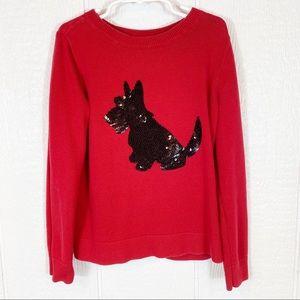 Girls Gap Sequin Scotty Dog Red Sweater Medium